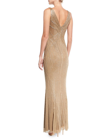 Beaded Illusion V-Neck Gown