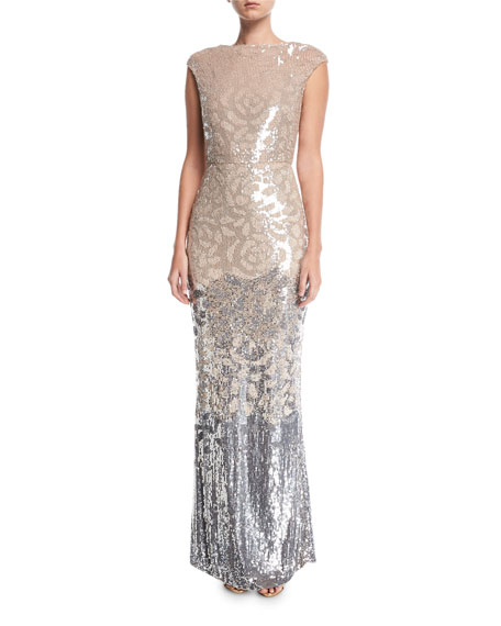 Floral Sequined Cap-Sleeve Gown
