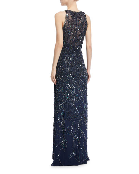 Sleeveless All-Over-Beaded Straight Evening Gown