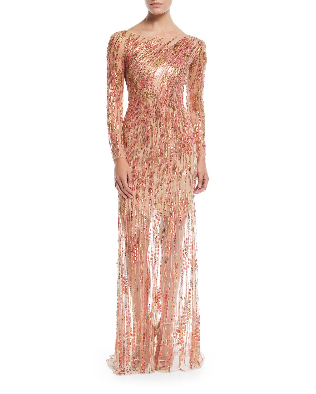 Jenny Packham Sleeveless Ombre Beaded Evening Gown | Neiman Marcus