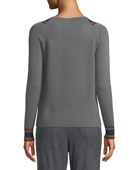 Girocollo Crewneck Rib-Knit Pullover Cashmere Sweater