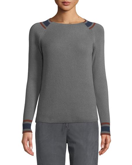 Loro Piana Girocollo Crewneck Rib-Knit Pullover Cashmere Sweater