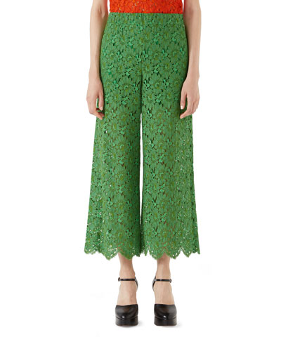 Floral-Lace Ankle Pants