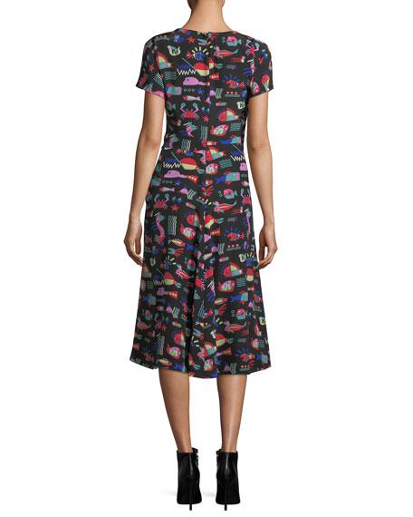 Cyber Underwater World Printed Silk Midi Dress