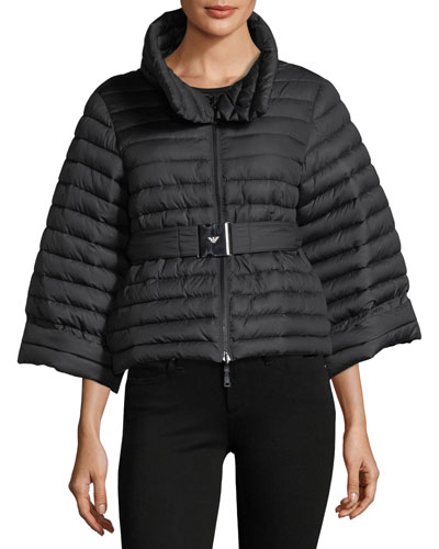 Cyber Underwater Reversible Quilted Cropped Puffer Jacket