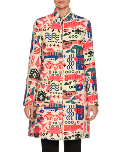Cyber Underwater World High-Neck Embroidered Coat