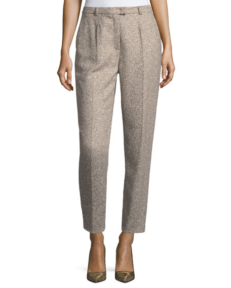 Escada Talarant Straight-Leg Tweed Ankle Pants