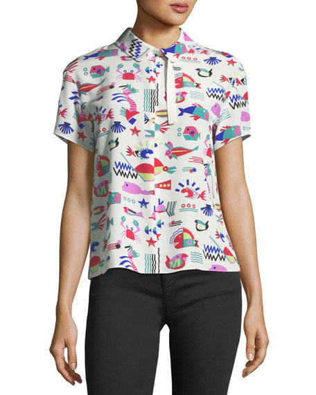 Cyber Underwater World Short-Sleeve Silk Blouse