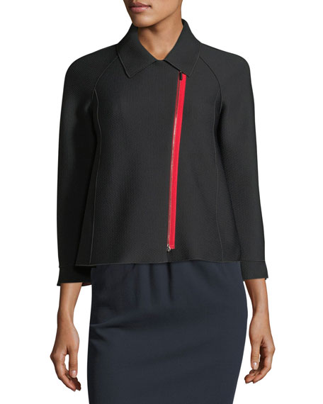 Zip-Front 3/4-Sleeves Honeycomb-Textured Jacket