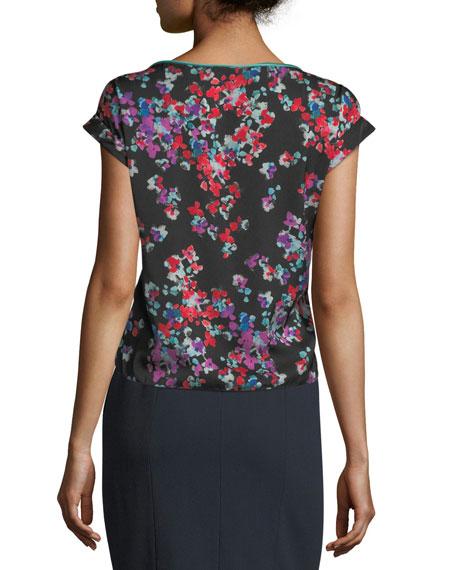 Floral-Print Crewneck Cap-Sleeve Blouse