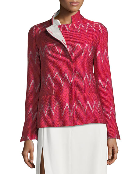 High-Collar Long-Sleeve Patterned Knit Jacket