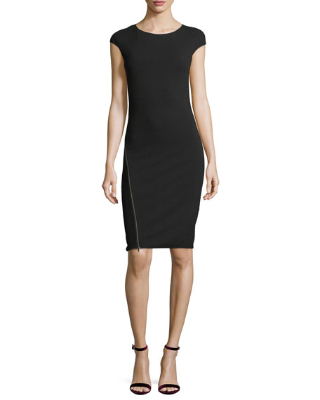 Emporio Armani Round-Neck Cap-Sleeve Fitted Midi Dress with