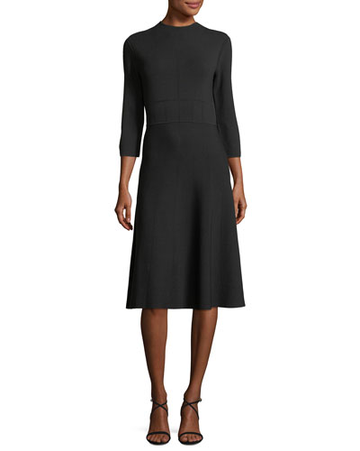 High-Neck 3/4-Sleeve Fit-and-Flare Knit Dress