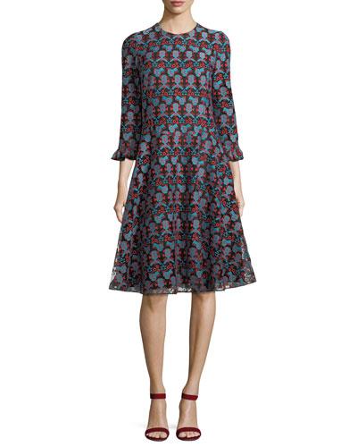 Crewneck Long-Sleeve Printed Midi Dress