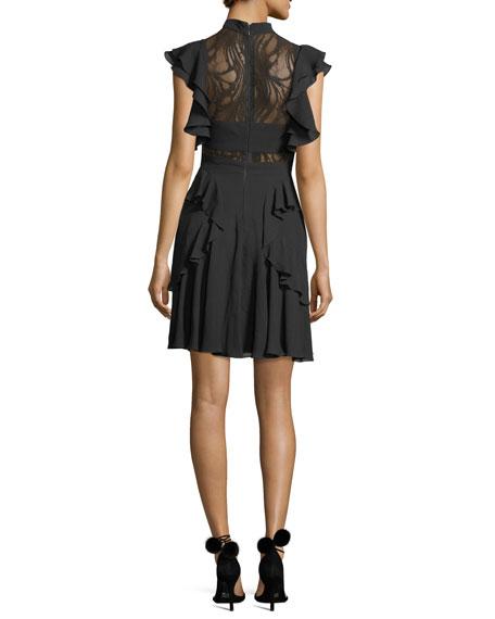 Ruffled Tie-Neck Lace-Trim Dress