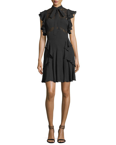 Ruffled Tie-Neck Lace-Trim Dress
