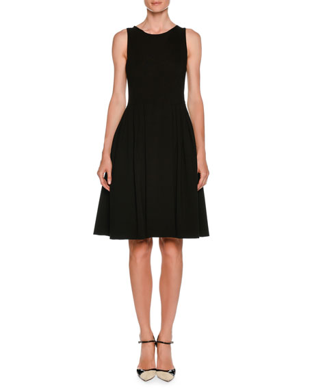 Round-Neck Sleeveless Jersey Pleated Fit-and-Flare Dress