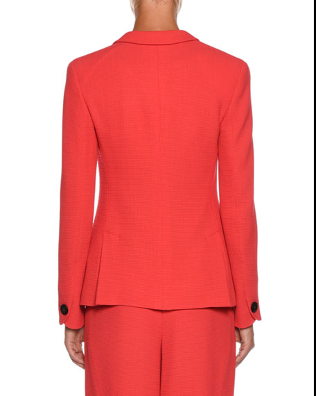 One-Button Waffle-Weave Classic Wool-Blend Jacket