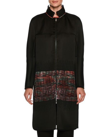 Giorgio Armani Satin Reversible Coat with Floral-Print &
