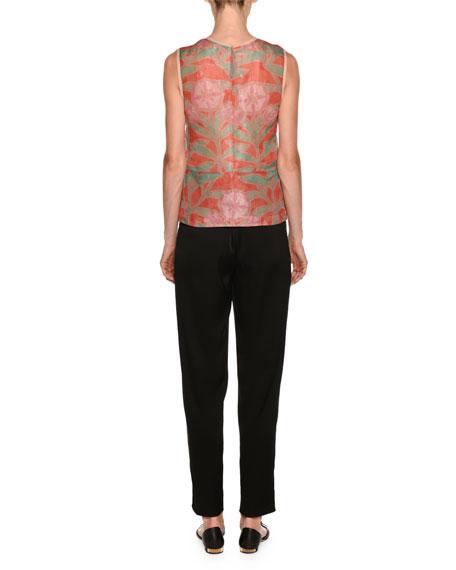 Floral-Print Sleeveless Silk Shell