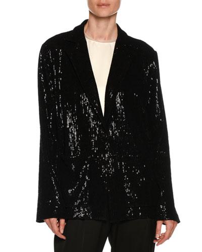 Flocked Velvet Sequin Oversized Jacket