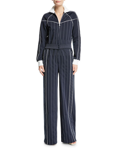Long-Sleeve Zip-Front Striped Techno Jersey Wide-Leg Jumpsuit