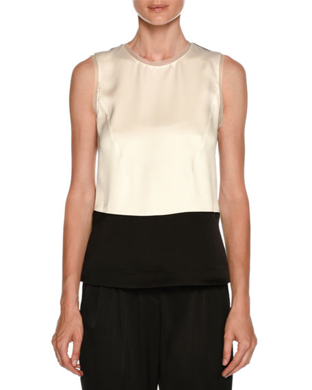 Tricolor Sleeveless Satin Colorblock Blouse