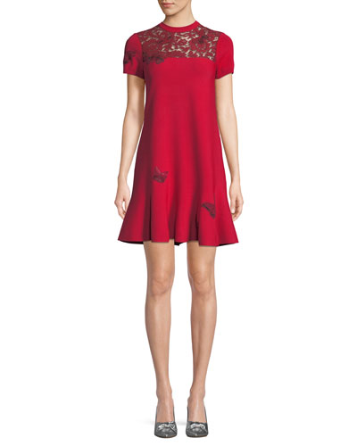 Short-Sleeve Stretch-Knit Dress with Butterfly Embroidery & Lace Inset
