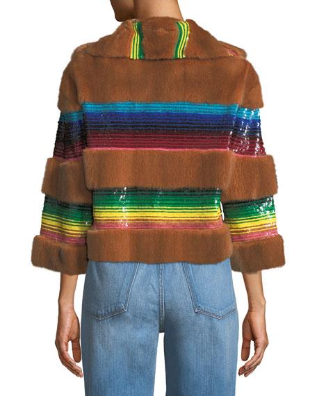 Mink Fur Sequined Bolero Jacket