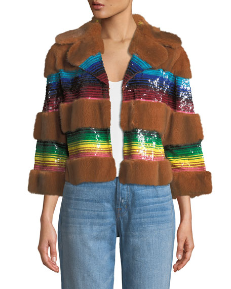 Mink Fur Sequined Bolero Jacket