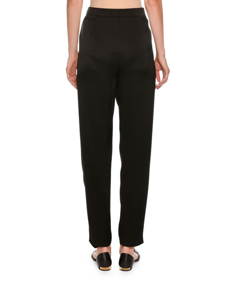 Pleated Straight-Leg Silk Pants