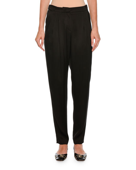 Giorgio Armani Pleated Straight-Leg Silk Pants