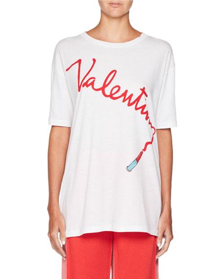 Crewneck Lipstick Logo Oversized Cotton T-Shirt