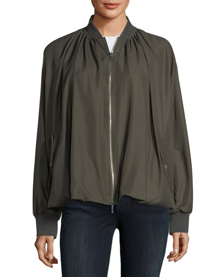 Zip-Front Bubble-Hem Silk Bomber Jacket