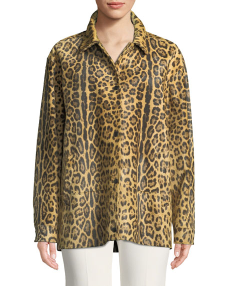 Leopard-Print Calf Hair Snap-Front Coat