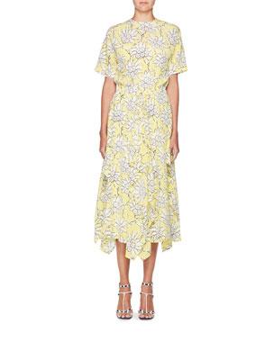 59ef5f35866 Valentino Floral-Print Short-Sleeve A-Line Midi Dress