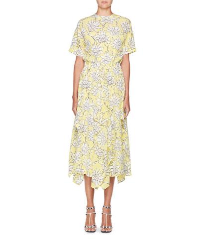 Floral-Print Short-Sleeve A-Line Midi Dress
