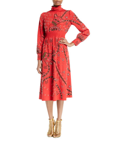 Mock-Neck Long-Sleeve Beaded-Embroidered Silk Mid-Calf Dress