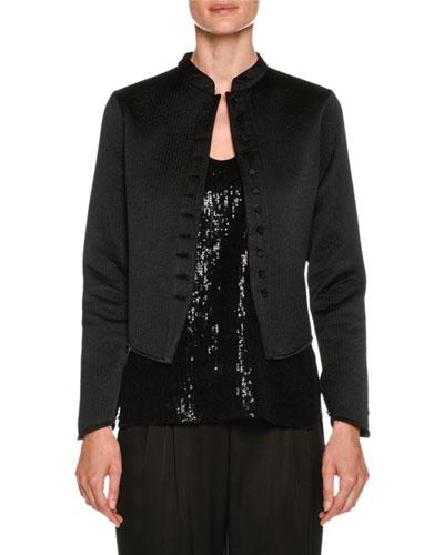 Neru-Collar Silk Grosgrain Short Jacket with Jeweled Buttons