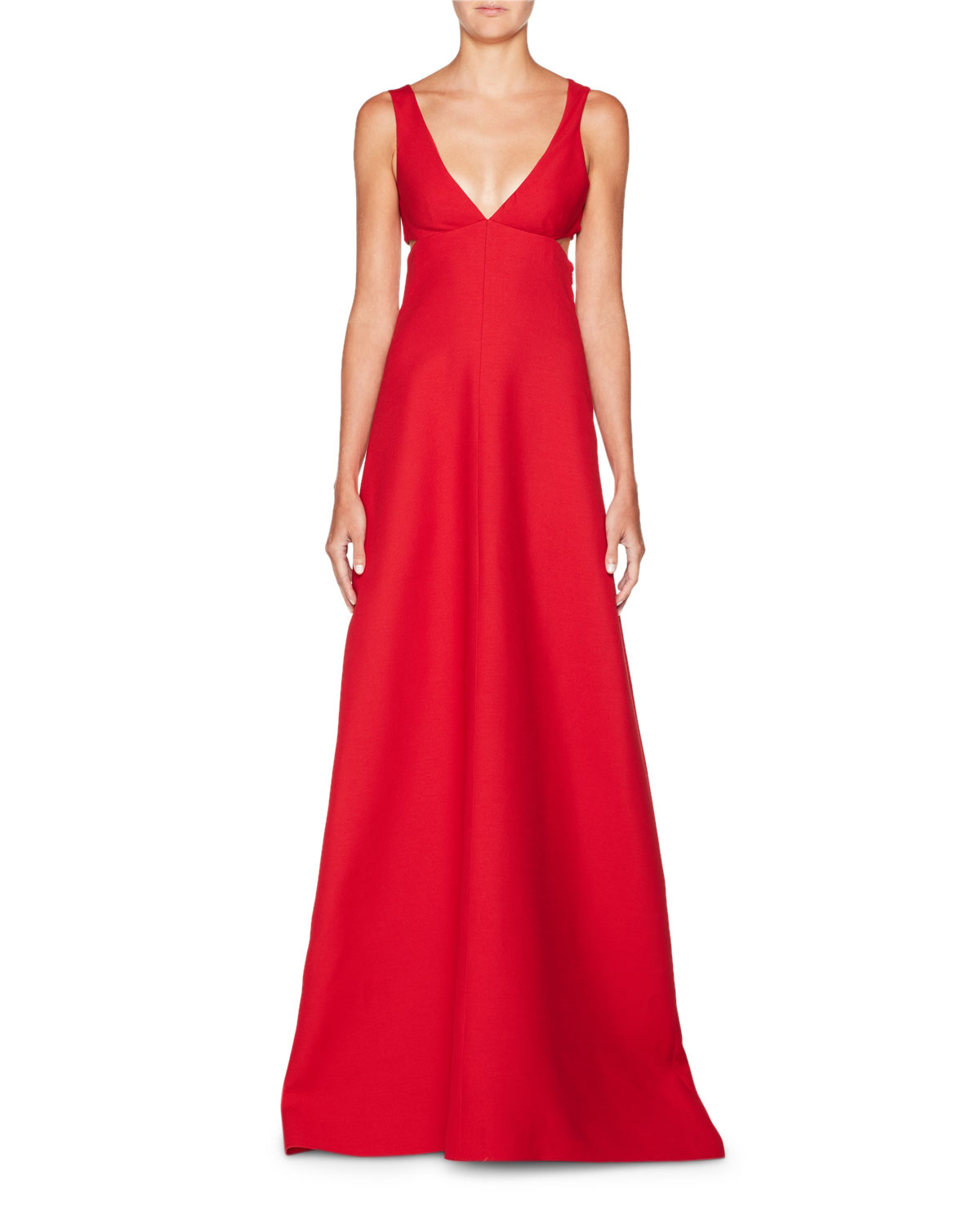Valentino Deep-V Sleeveless Cutout Crepe Evening Gown | Neiman Marcus