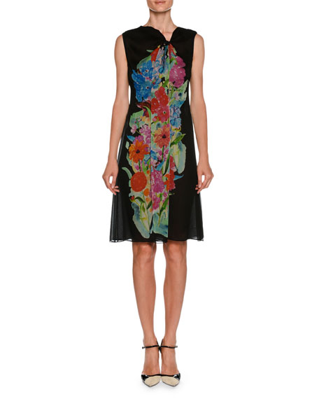 Giorgio Armani Sleeveless A-Line Silk Chiffon Dress w/