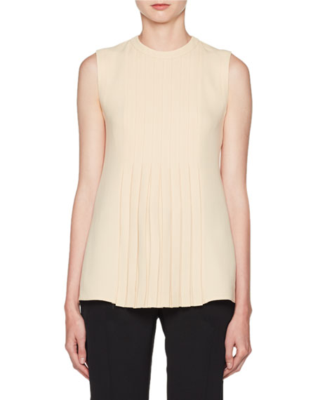Crewneck Sleeveless Pleated Cady Blouse