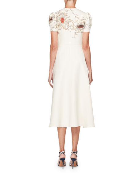 High-Neck Short-Sleeve Crepe Dress w/ Embroidery