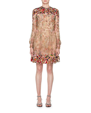 5484de1480e Valentino Long-Sleeve Heavily Beaded Embroidered Tulle Illusion Dress