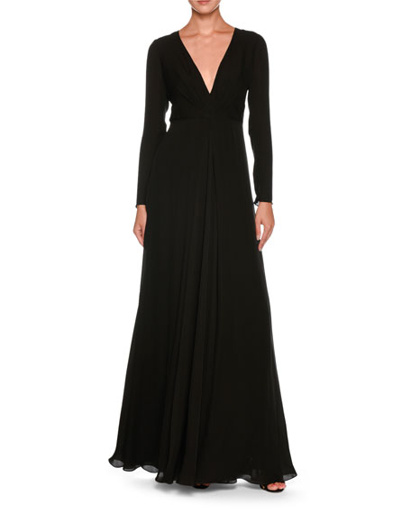 Giorgio Armani Plunging Long-Sleeve Silk Cady Floor-Length Dress