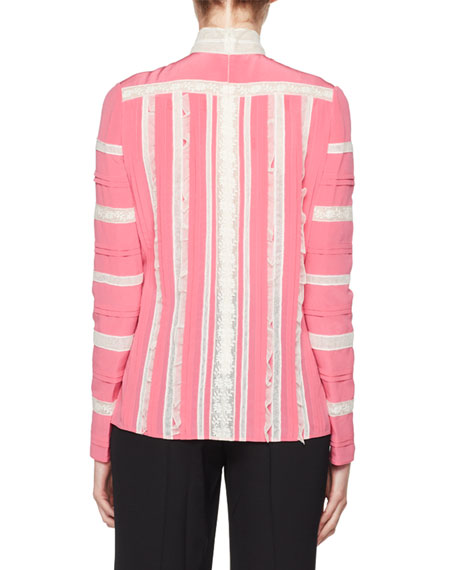 Long-Sleeve Mock-Neck Crepe de Chine with Lace Inset Blouse