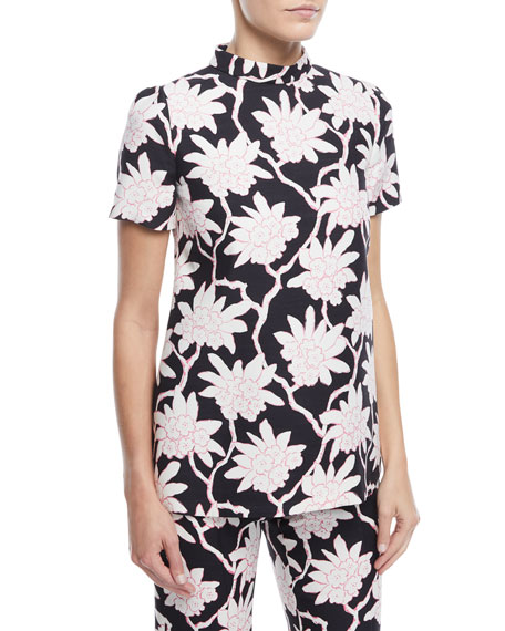 Short-Sleeve High-Neck Rhododendron-Print Top