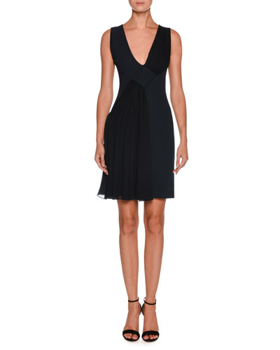 V-Neck Sleeveless Crepe Short Dress w/ Chiffon Ruching