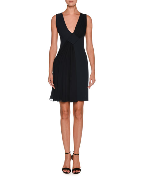 Giorgio Armani V-Neck Sleeveless Crepe Short Dress w/