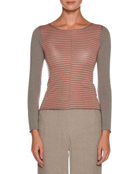 Crewneck Long-Sleeve Broken-Stripes Wool Knit Top